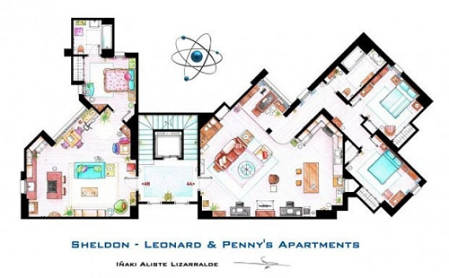 Os apartamentos de Sheldon e Leonard e de Penny, da série The Big Bang Theory